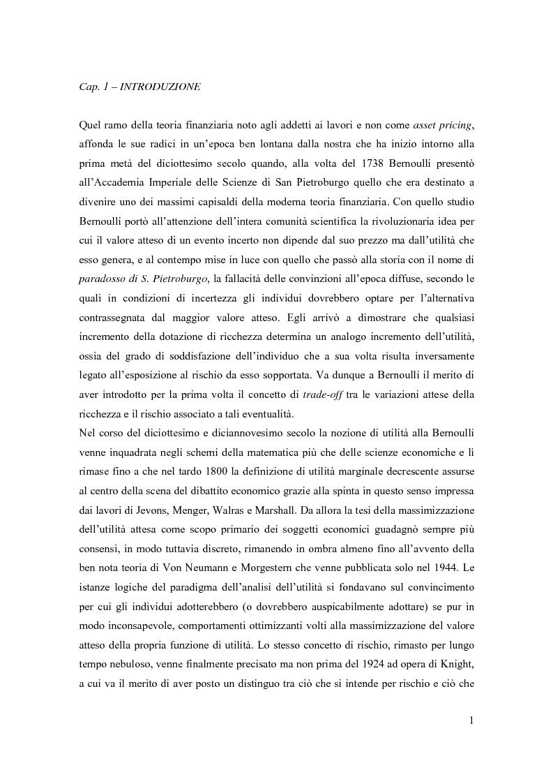 Anteprima della tesi: Modelli di pricing per titoli azionari: la valutazione in economie dinamiche, Pagina 1