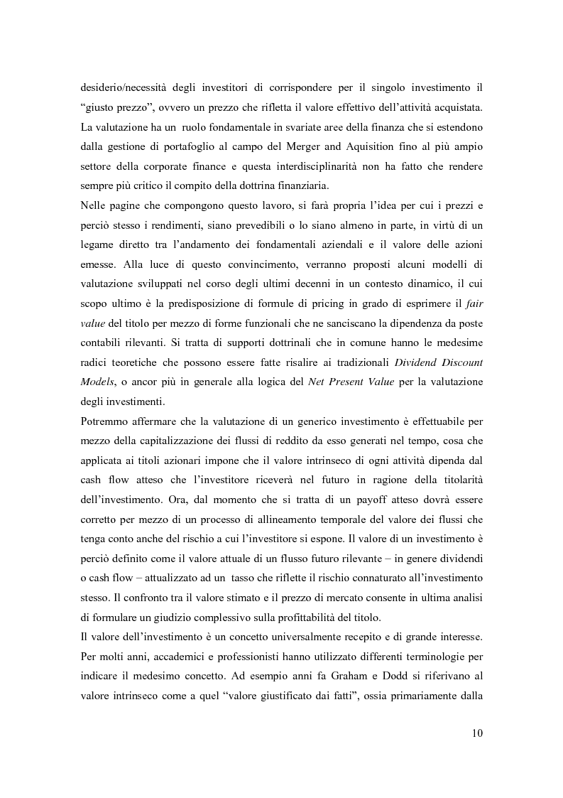 Anteprima della tesi: Modelli di pricing per titoli azionari: la valutazione in economie dinamiche, Pagina 10