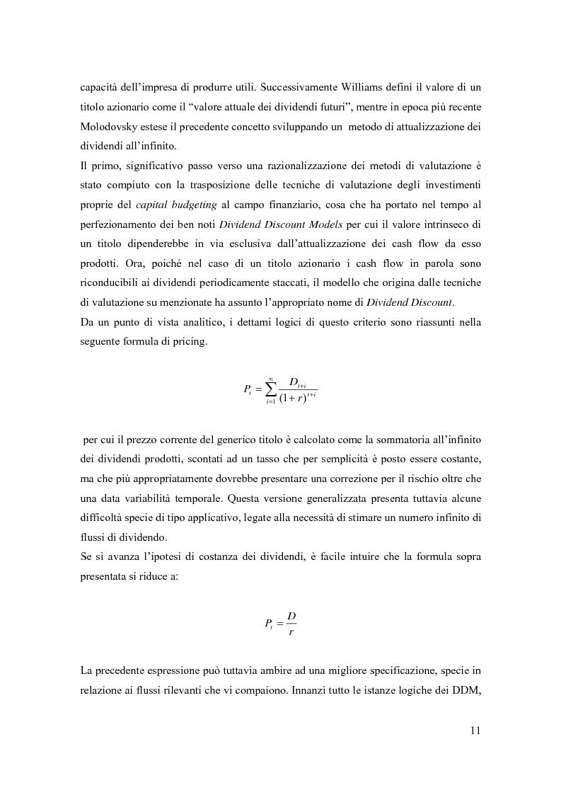 Anteprima della tesi: Modelli di pricing per titoli azionari: la valutazione in economie dinamiche, Pagina 11