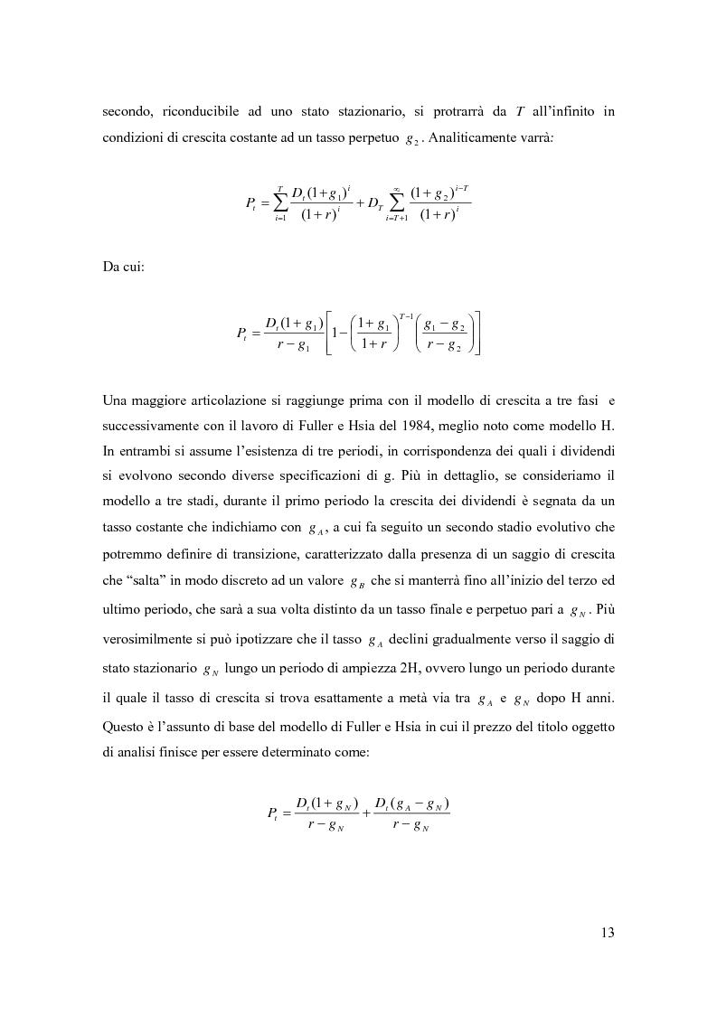Anteprima della tesi: Modelli di pricing per titoli azionari: la valutazione in economie dinamiche, Pagina 13