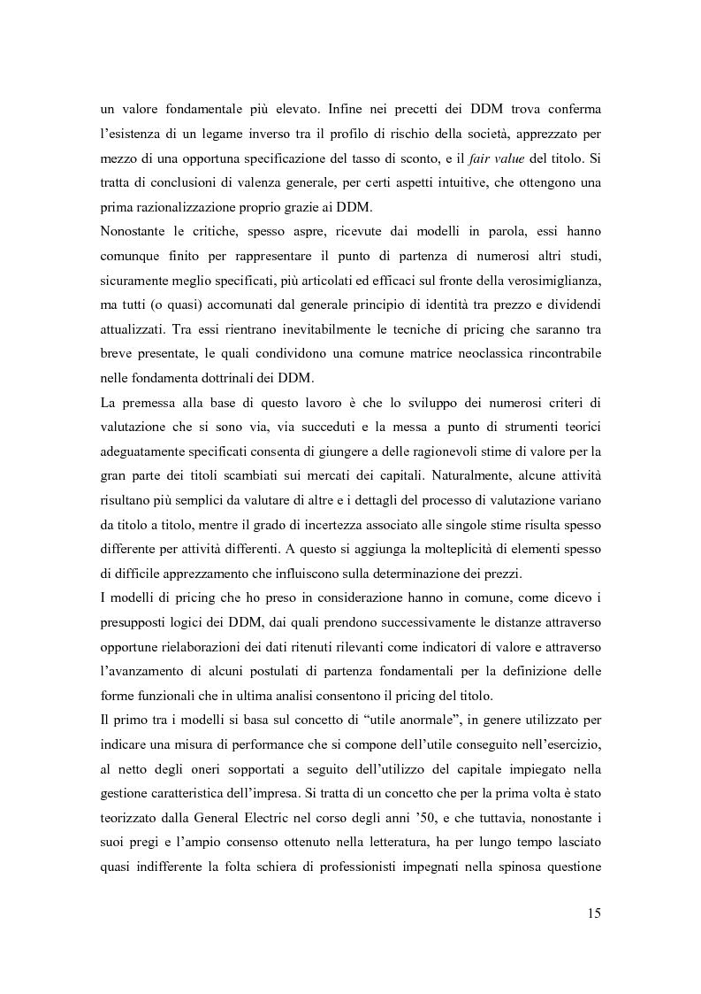 Anteprima della tesi: Modelli di pricing per titoli azionari: la valutazione in economie dinamiche, Pagina 15