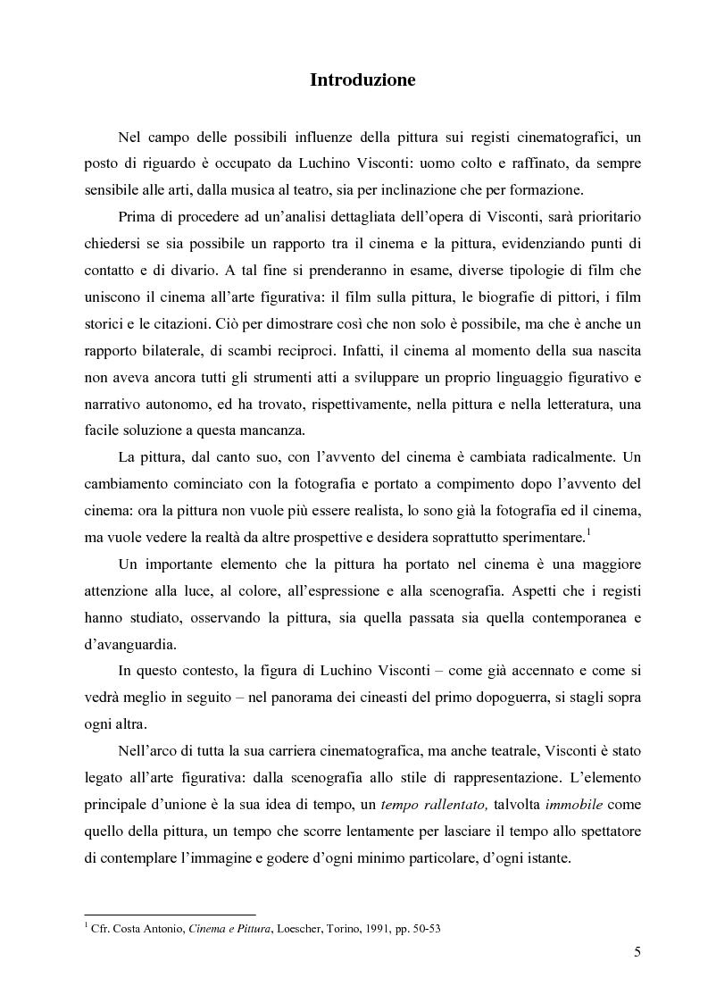Anteprima della tesi: Riflessi ed echi pittorici nel cinema di Luchino Visconti, Pagina 1