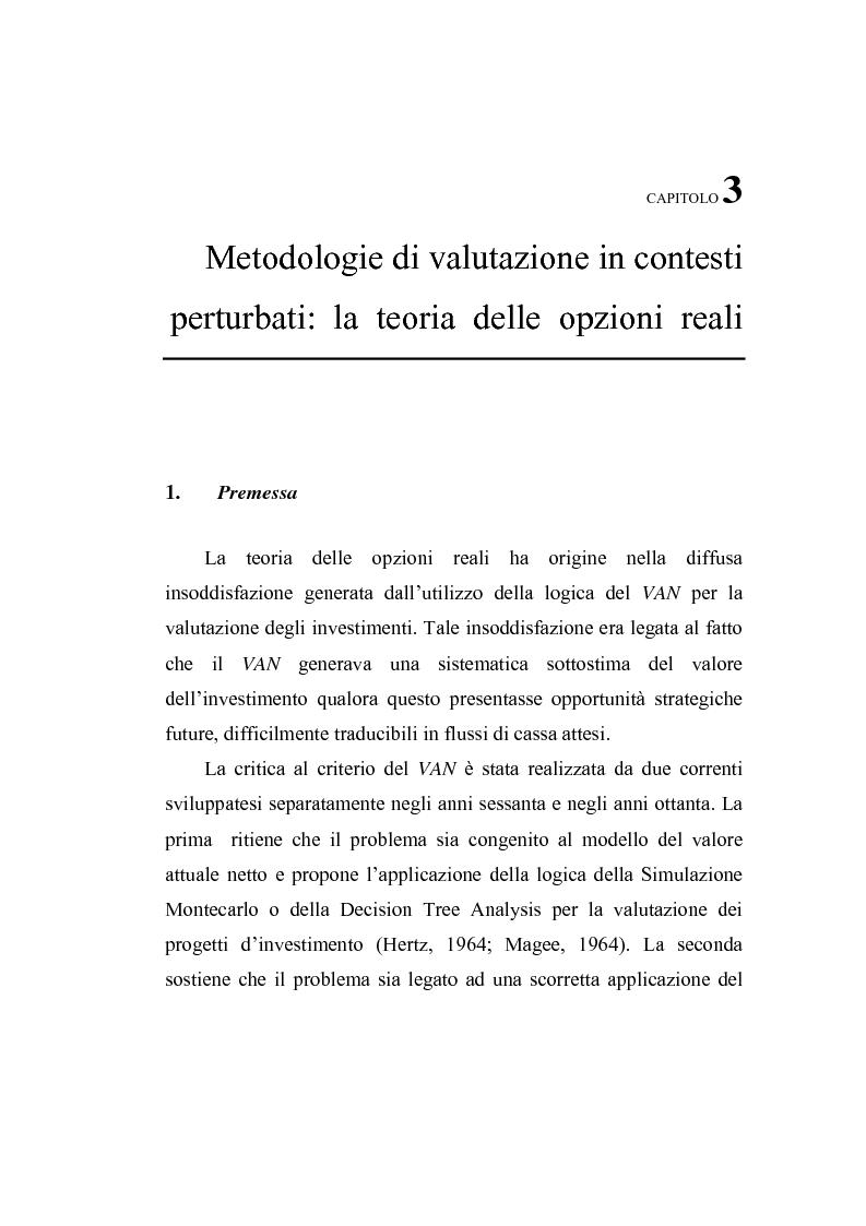 Anteprima della tesi: Opzioni Reali. Valutazione degli investimenti in condizioni di incertezza, Pagina 1