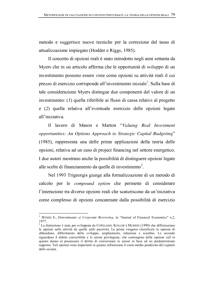 Anteprima della tesi: Opzioni Reali. Valutazione degli investimenti in condizioni di incertezza, Pagina 2