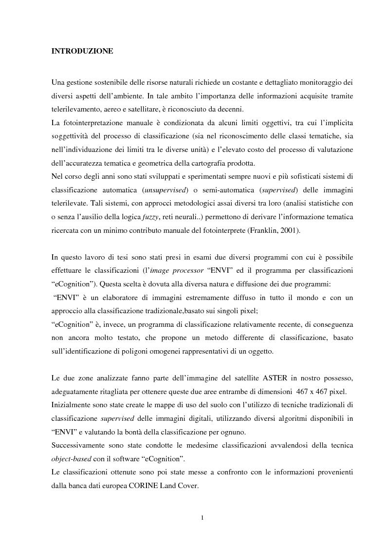 Anteprima della tesi: Analisi della segmentazione delle immagini digitali telerilevate applicata alla classificazione CORINE: proposte di procedure di ottimizzazione, Pagina 1