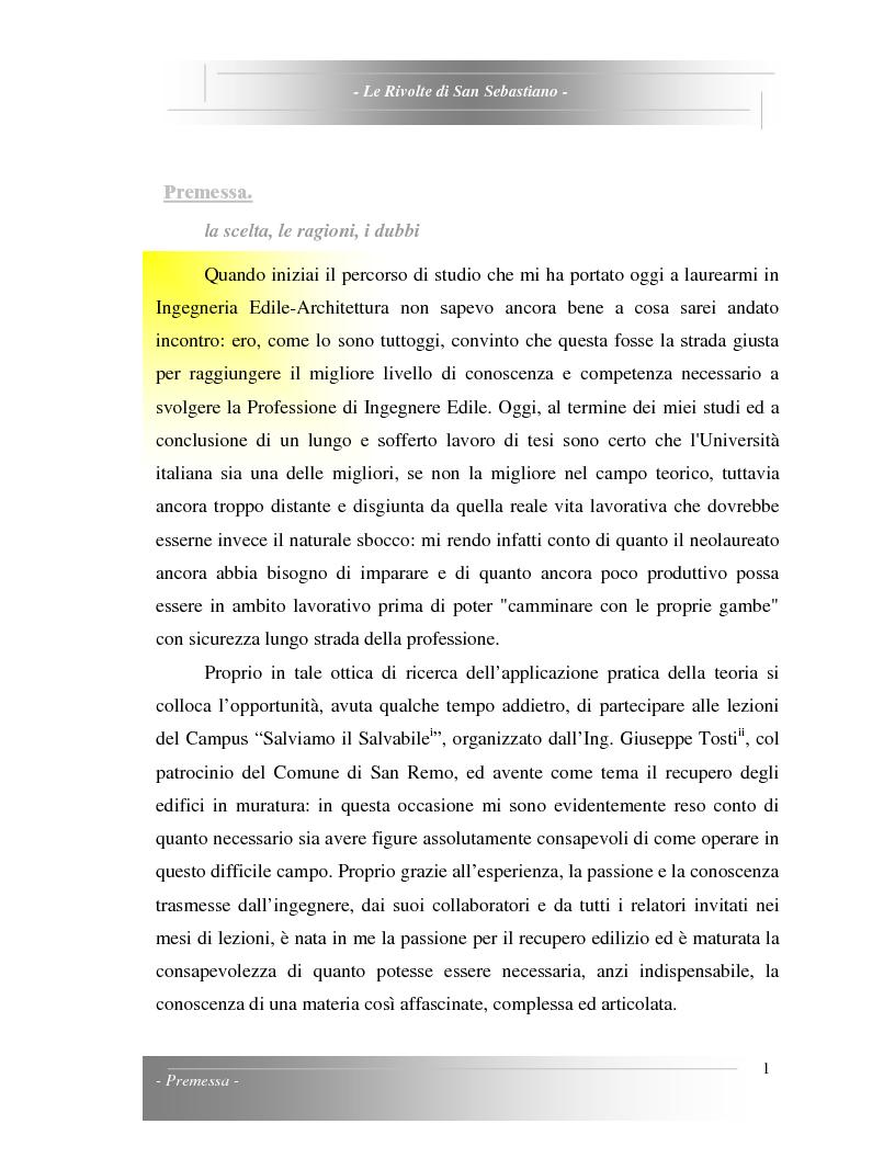 Anteprima della tesi: Le Rivolte di San Sebastiano: Proposta di recupero di un edificio sito nella Pigna di Sanremo, Pagina 1