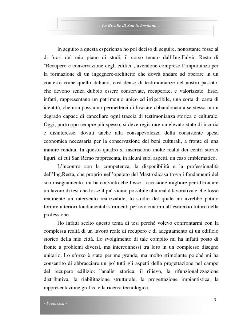Anteprima della tesi: Le Rivolte di San Sebastiano: Proposta di recupero di un edificio sito nella Pigna di Sanremo, Pagina 3
