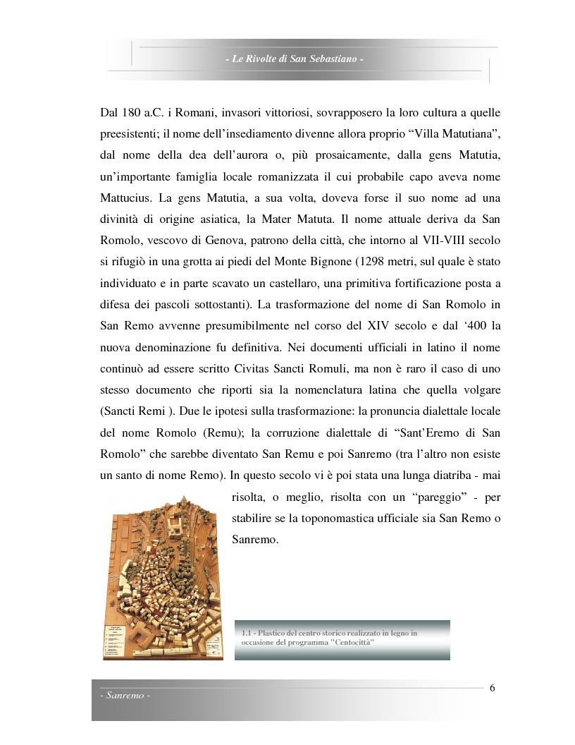 Anteprima della tesi: Le Rivolte di San Sebastiano: Proposta di recupero di un edificio sito nella Pigna di Sanremo, Pagina 6