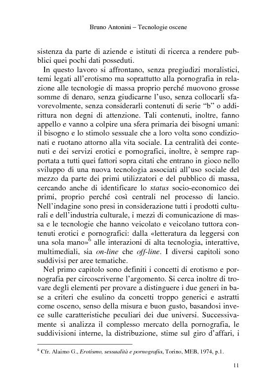 Anteprima della tesi: Tecnologie Oscene. Erotismo e pornografia: contenuti strategici per i nuovi media, Pagina 5