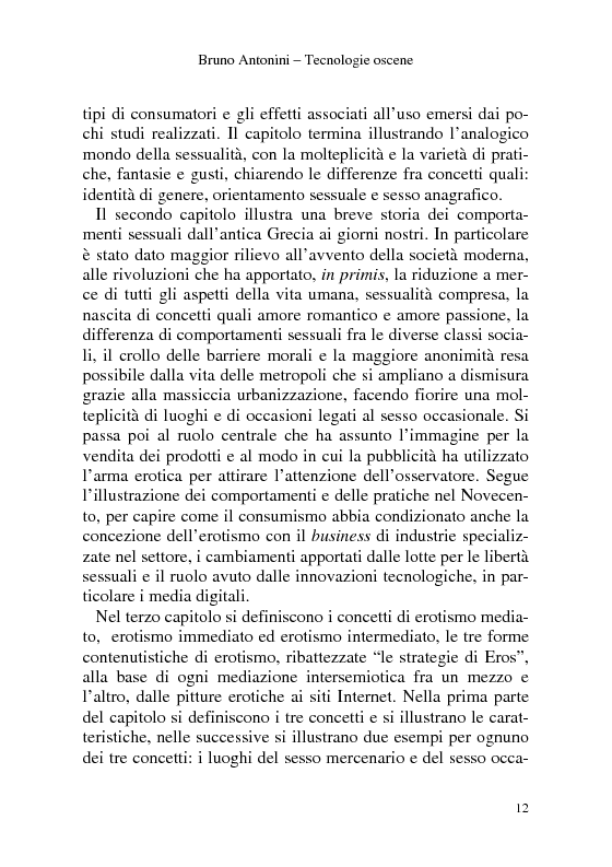Anteprima della tesi: Tecnologie Oscene. Erotismo e pornografia: contenuti strategici per i nuovi media, Pagina 6