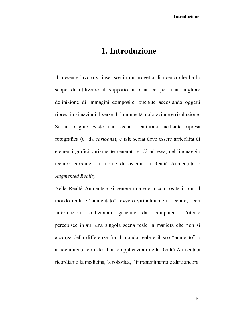 Anteprima della tesi: Merging di immagini digitali in un sistema prototipale di augmented reality, Pagina 1