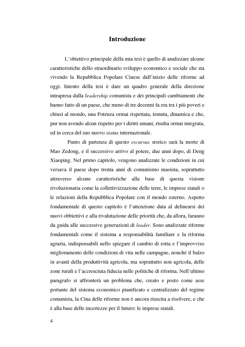 Anteprima della tesi: Venticinque anni di riforme in Cina: vittorie e contraddizioni di una nuova potenza mondiale, Pagina 1