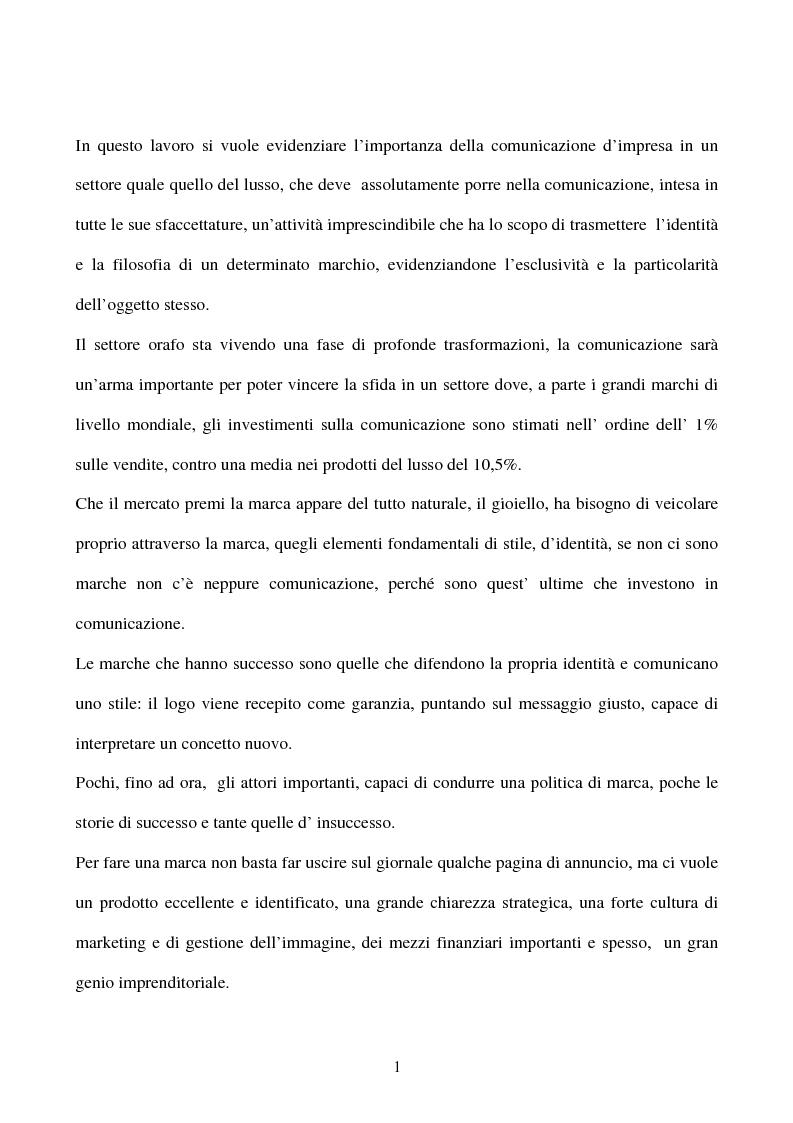 Anteprima della tesi: L' importanza della comunicazione d' impresa nel settore del lusso: Il caso Pianegonda, Pagina 1