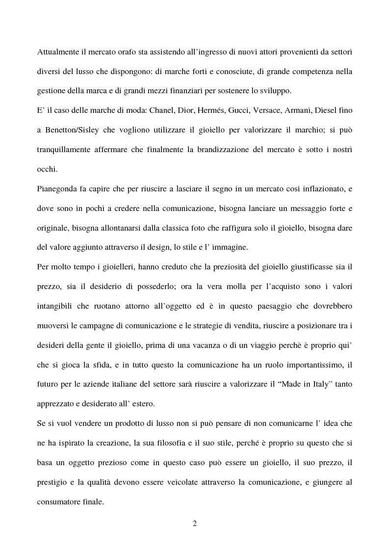 Anteprima della tesi: L' importanza della comunicazione d' impresa nel settore del lusso: Il caso Pianegonda, Pagina 2