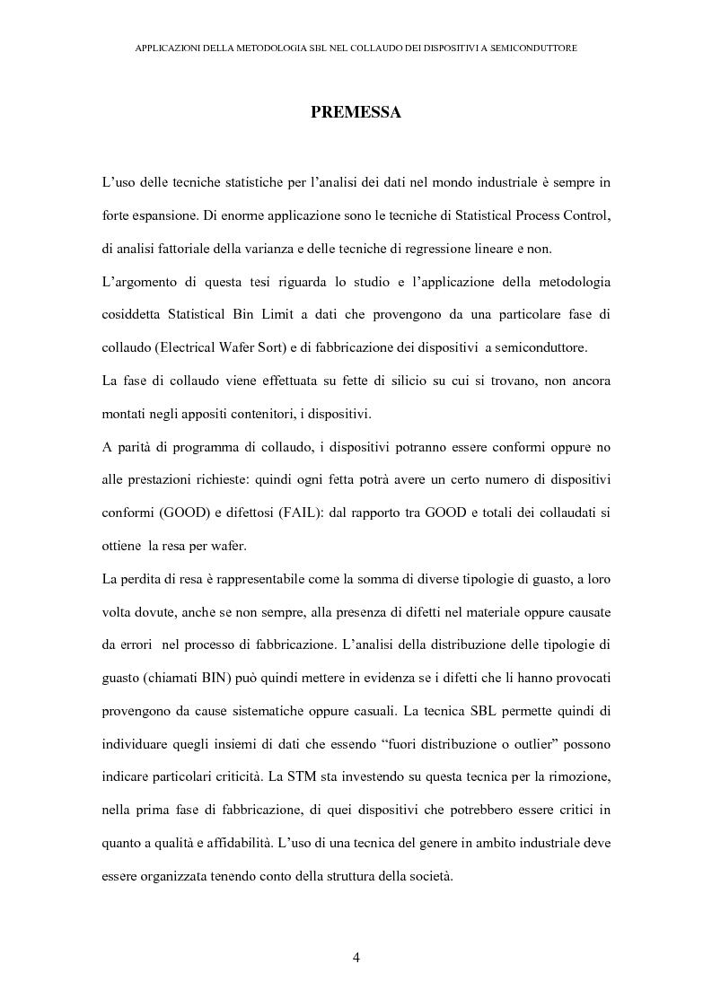 Anteprima della tesi: Applicazione della metodologia SBL nel collaudo dei dispositivi a semiconduttore, Pagina 1