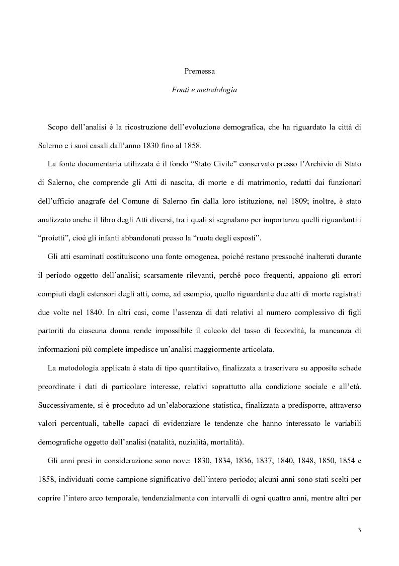Anteprima della tesi: Nati, matrimoni e morti a Salerno dal 1830 all' Unità, Pagina 1