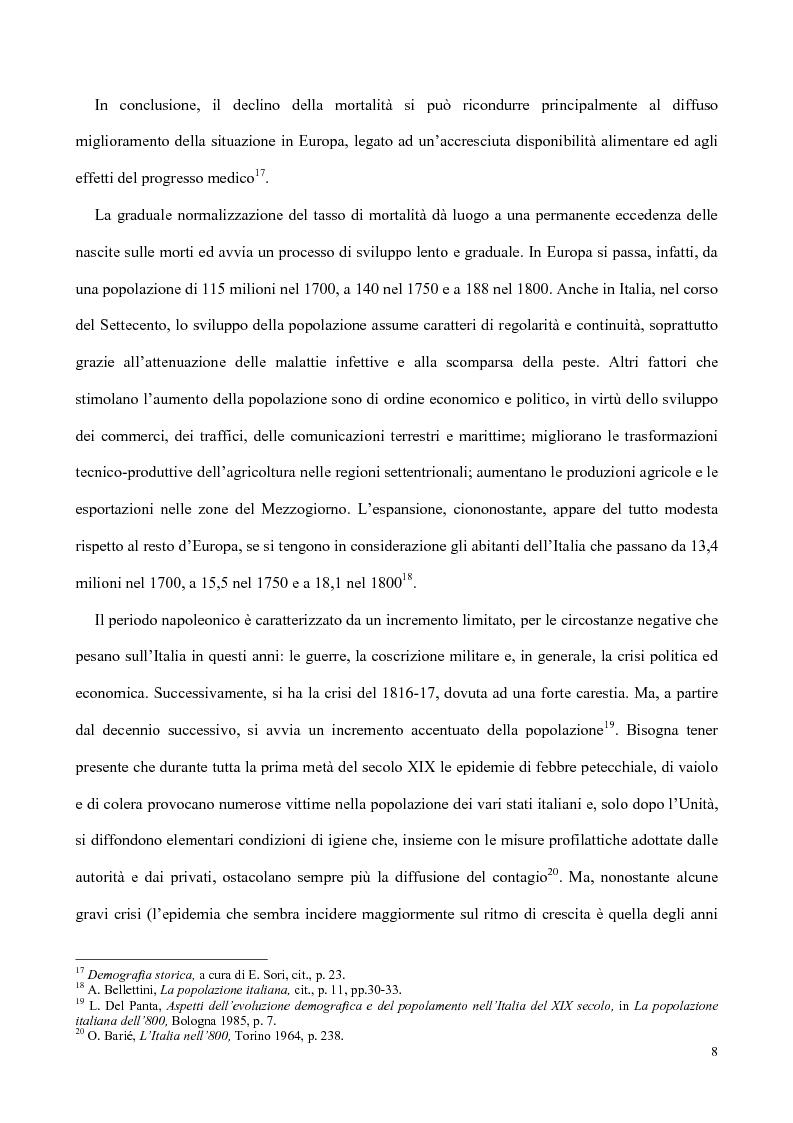 Anteprima della tesi: Nati, matrimoni e morti a Salerno dal 1830 all' Unità, Pagina 6