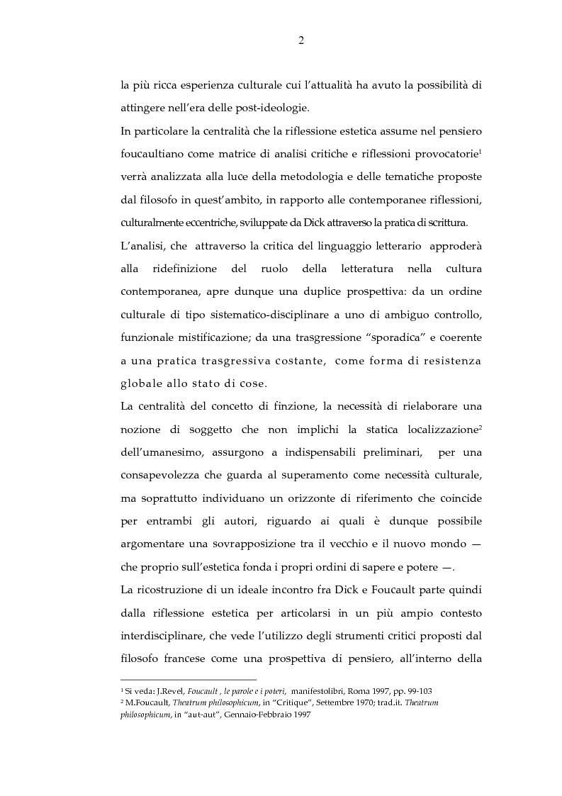 Anteprima della tesi: Archeologia e futurologia: una lettura foucaultiana dell'opera di Philip K. Dick, Pagina 2