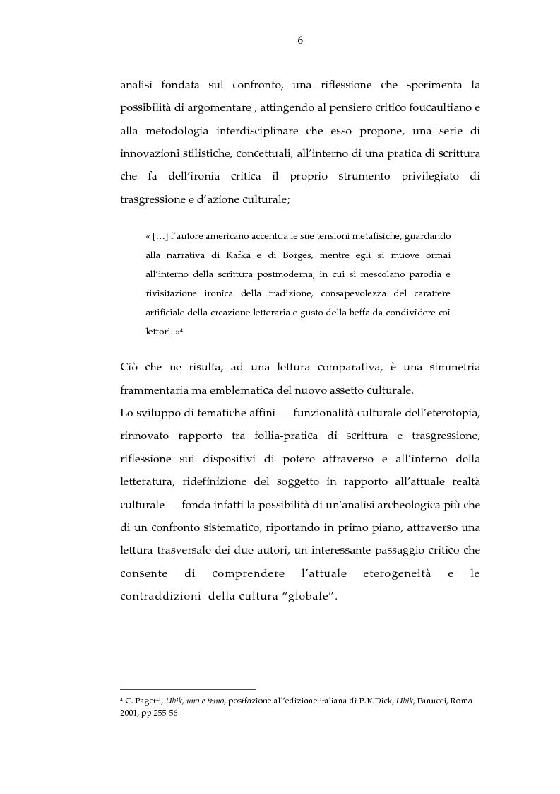 Anteprima della tesi: Archeologia e futurologia: una lettura foucaultiana dell'opera di Philip K. Dick, Pagina 6