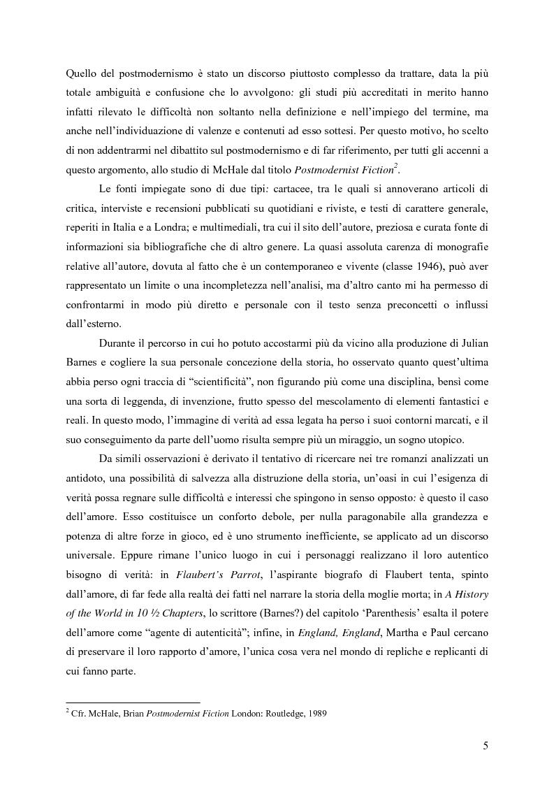 """Anteprima della tesi: """"History is merely another literary genre"""": Julian Barnes e l'""""invenzione"""" della storia, Pagina 3"""