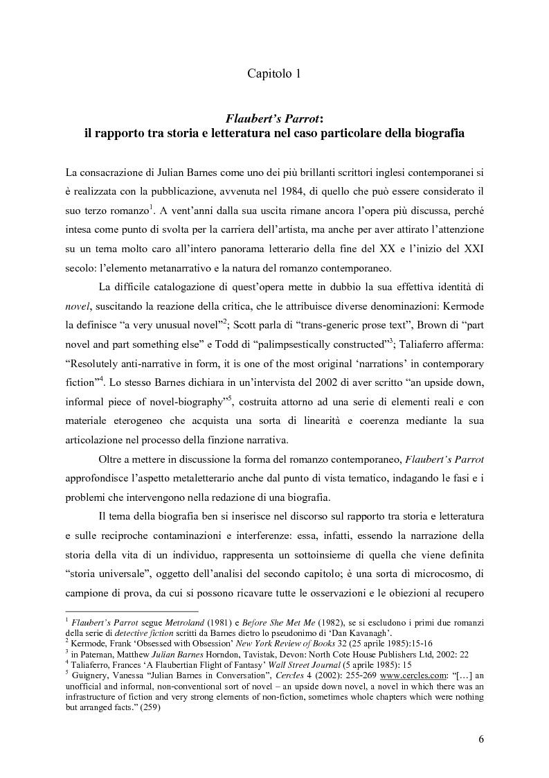 """Anteprima della tesi: """"History is merely another literary genre"""": Julian Barnes e l'""""invenzione"""" della storia, Pagina 4"""
