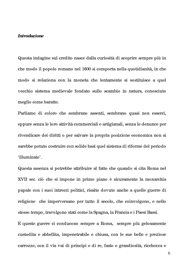Anteprima della tesi: I processi per debito nella Roma del 1600, Pagina 1