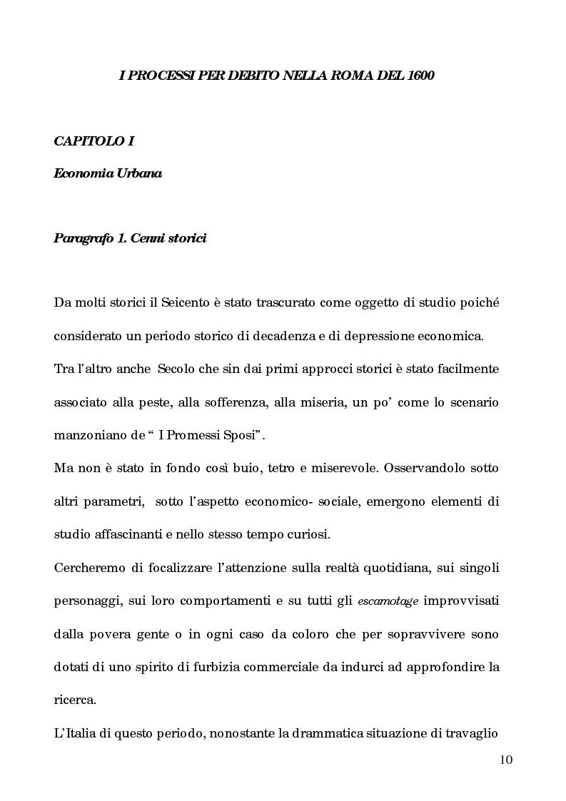 Anteprima della tesi: I processi per debito nella Roma del 1600, Pagina 5