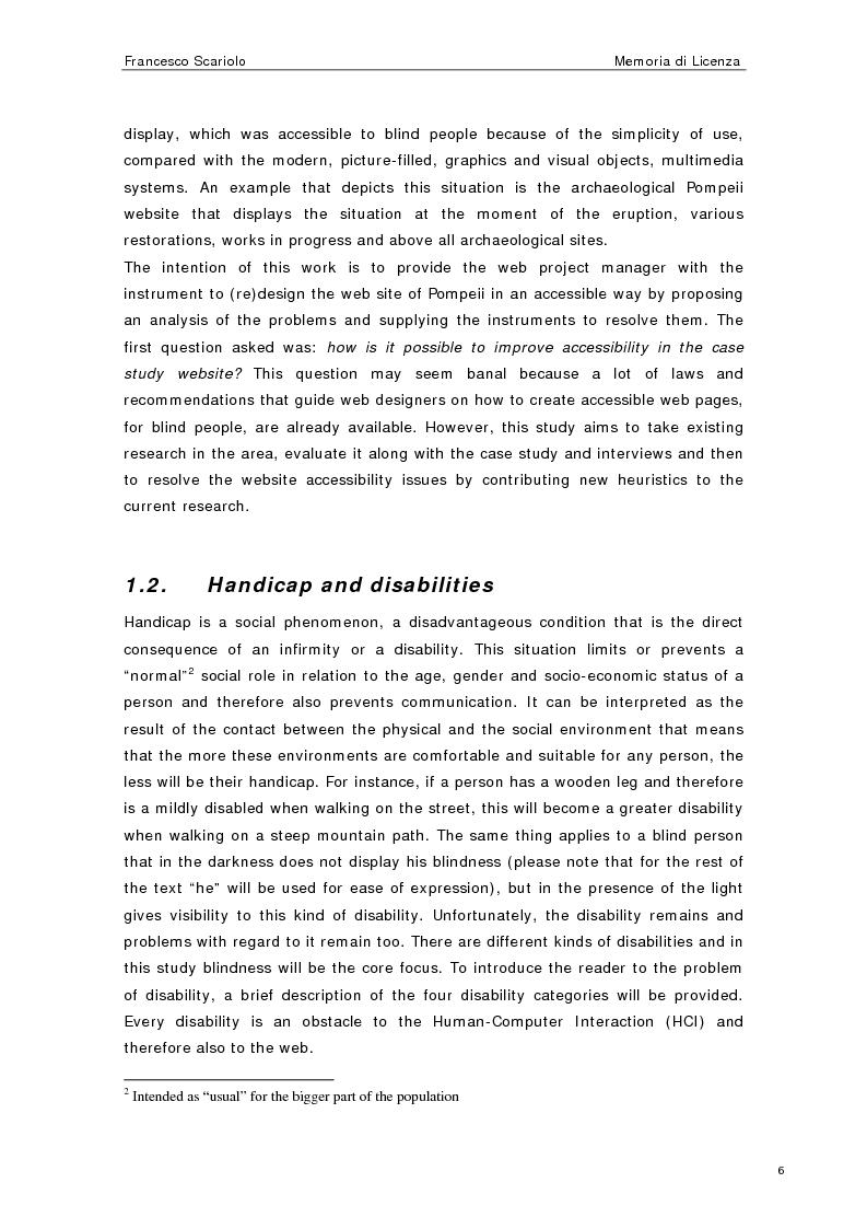 Anteprima della tesi: Web Accessibility: a Blind Look at the ''Pompeii Website'', Pagina 4