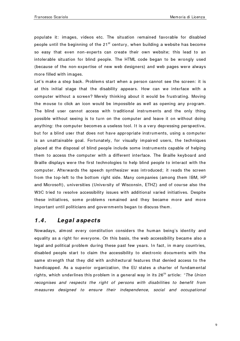 Anteprima della tesi: Web Accessibility: a Blind Look at the ''Pompeii Website'', Pagina 7