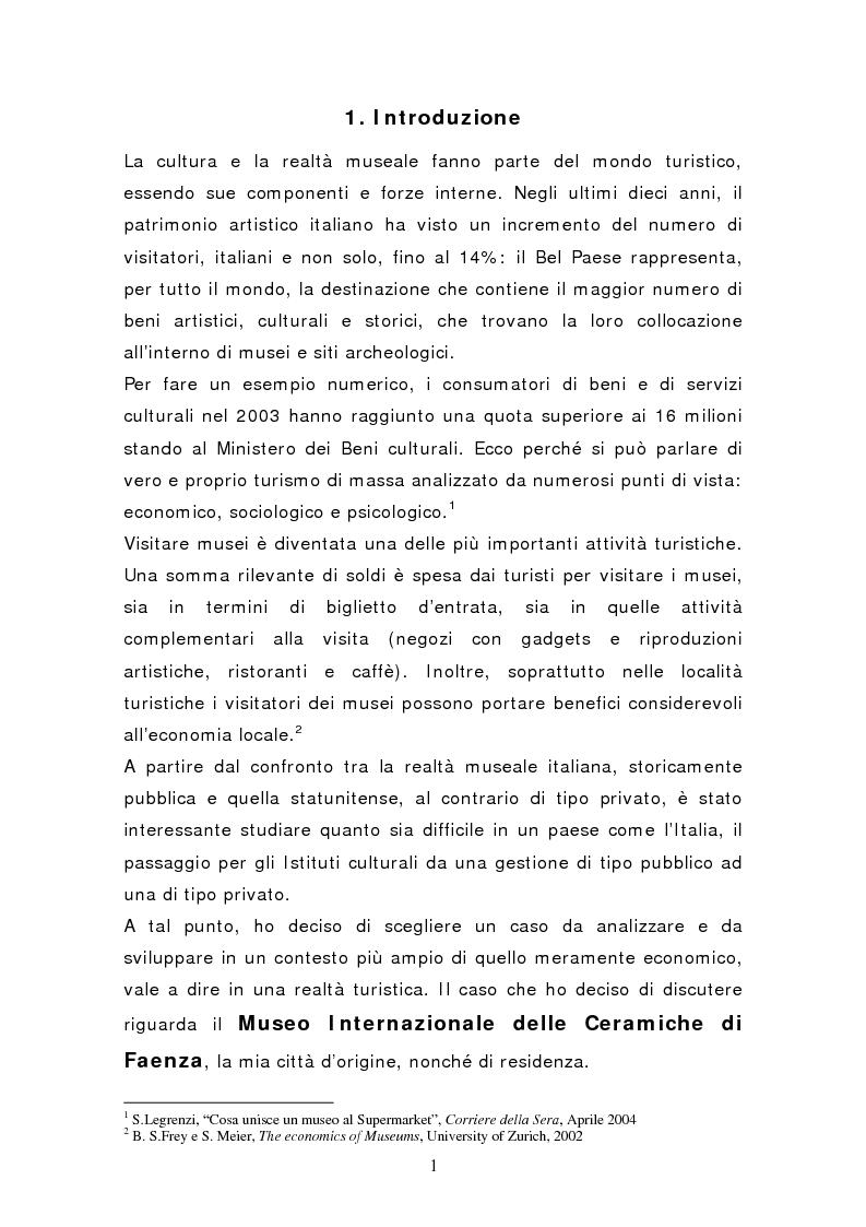 Anteprima della tesi: Da pubblico a privato: Il Museo Virtuoso. La Fondazione MIC di Faenza., Pagina 1