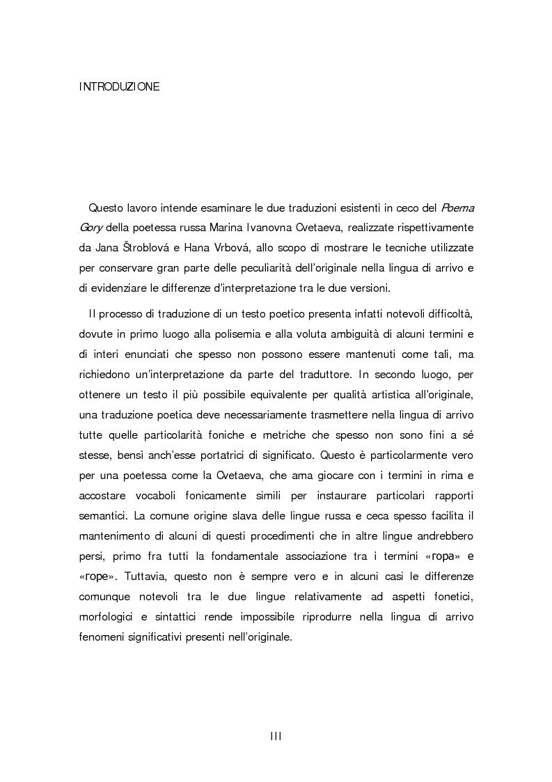 Anteprima della tesi: Due traduzioni ceche del Poema Gory di Marina Cvetaeva, Pagina 1