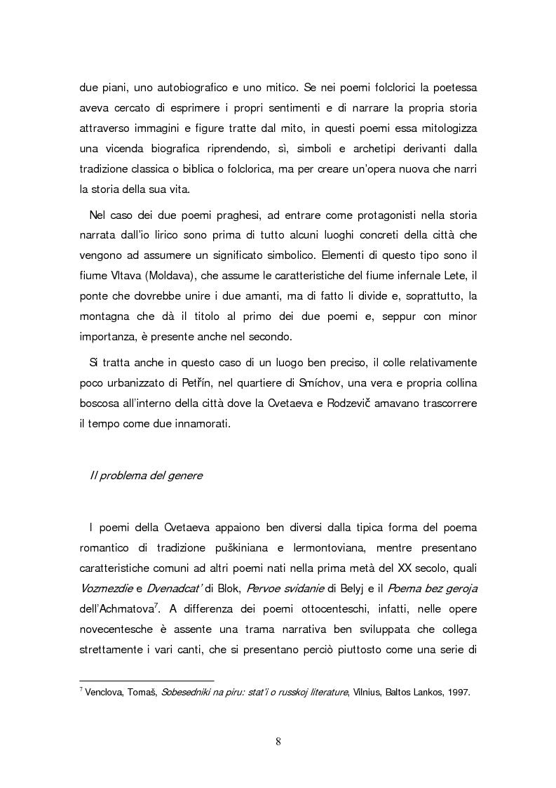 Anteprima della tesi: Due traduzioni ceche del Poema Gory di Marina Cvetaeva, Pagina 10