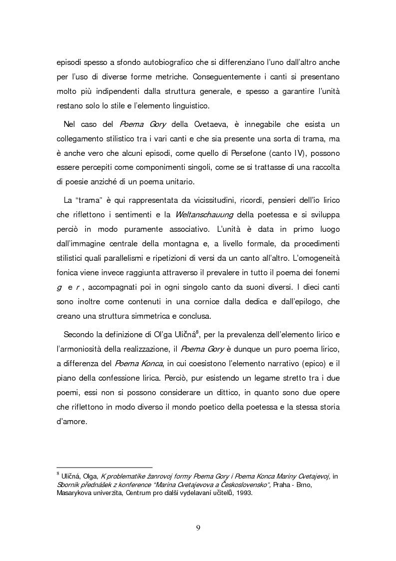 Anteprima della tesi: Due traduzioni ceche del Poema Gory di Marina Cvetaeva, Pagina 11