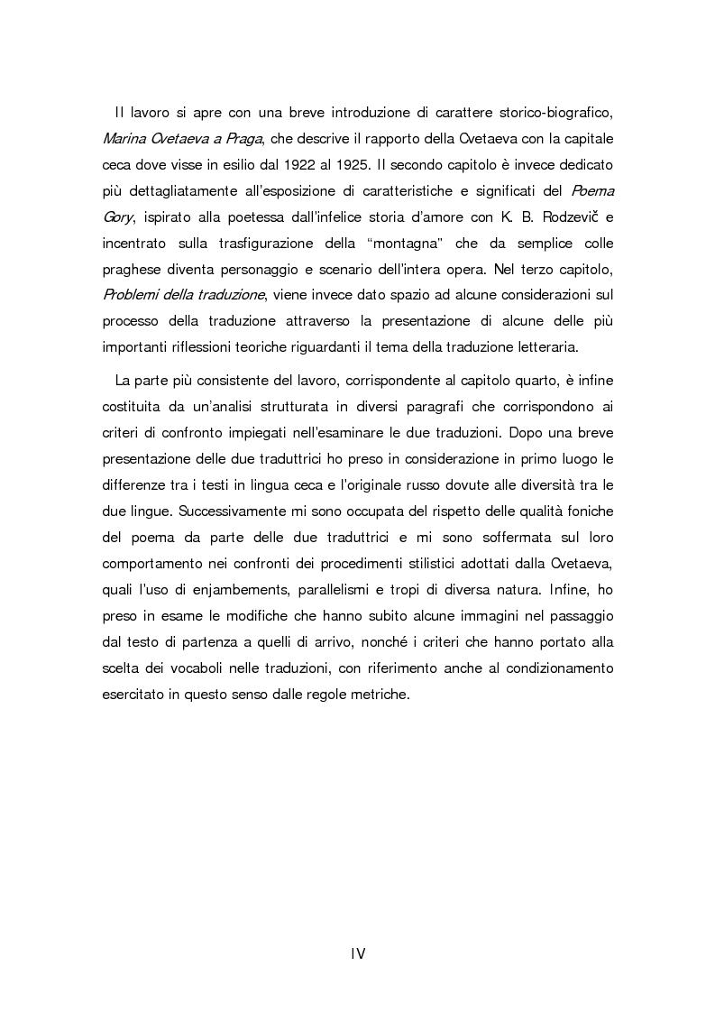 Anteprima della tesi: Due traduzioni ceche del Poema Gory di Marina Cvetaeva, Pagina 2