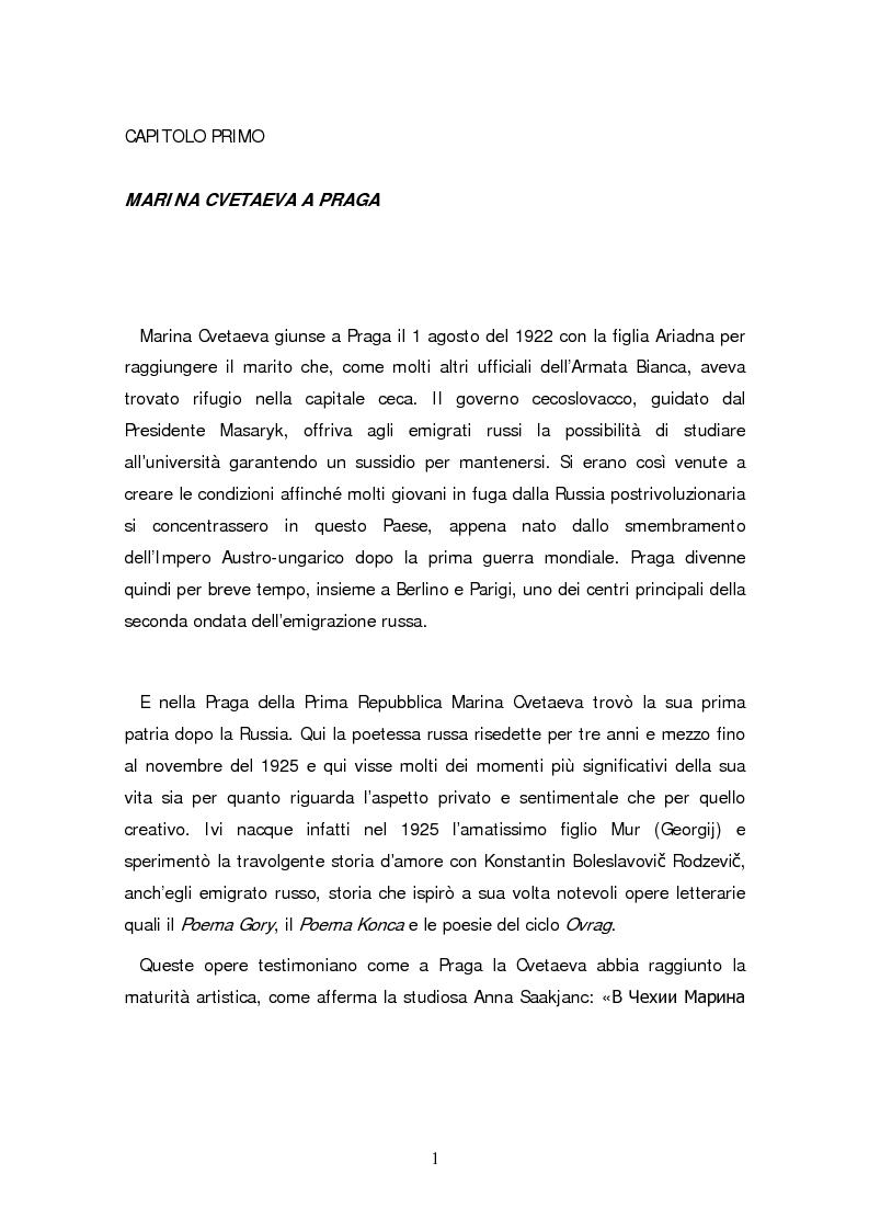Anteprima della tesi: Due traduzioni ceche del Poema Gory di Marina Cvetaeva, Pagina 3