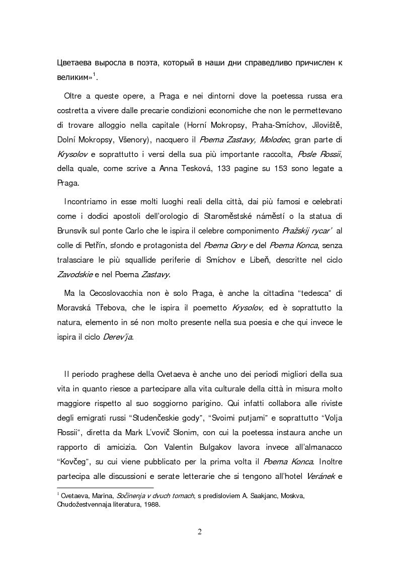 Anteprima della tesi: Due traduzioni ceche del Poema Gory di Marina Cvetaeva, Pagina 4