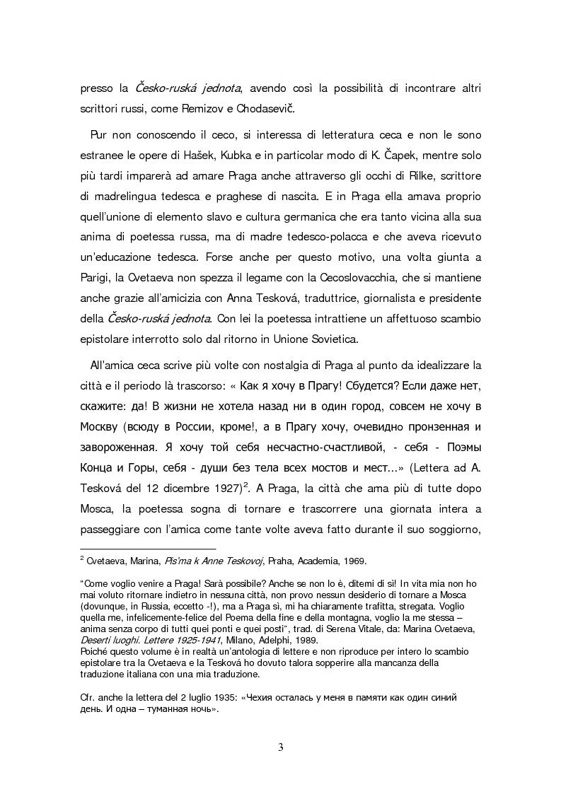 Anteprima della tesi: Due traduzioni ceche del Poema Gory di Marina Cvetaeva, Pagina 5