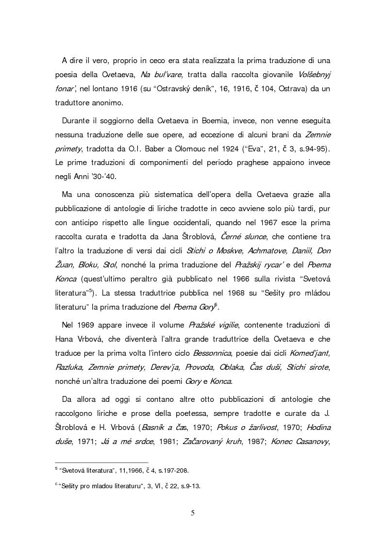 Anteprima della tesi: Due traduzioni ceche del Poema Gory di Marina Cvetaeva, Pagina 7