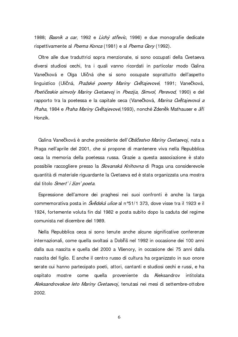 Anteprima della tesi: Due traduzioni ceche del Poema Gory di Marina Cvetaeva, Pagina 8