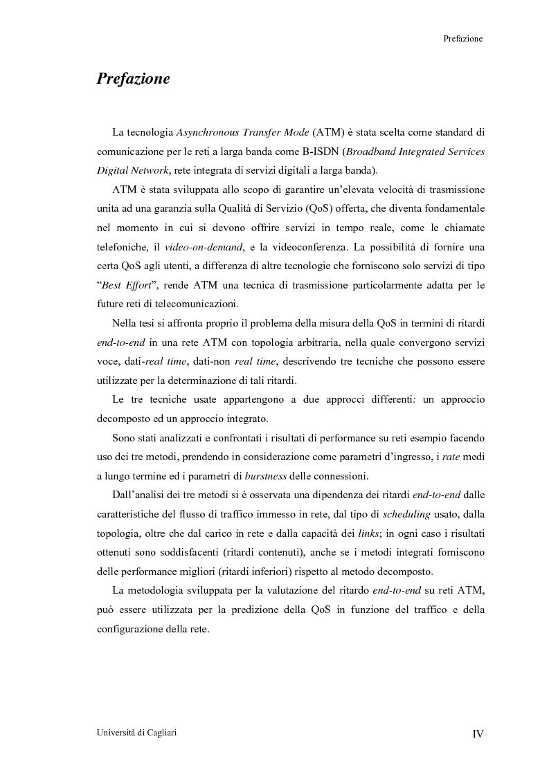 Anteprima della tesi: Tecniche per la valutazione del ritardo end to end nelle reti ATM, Pagina 1