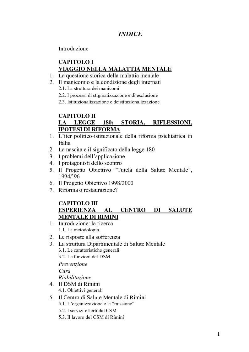 Indice della tesi: Il trattamento della malattia mentale. Il CSM di Rimini, Pagina 1