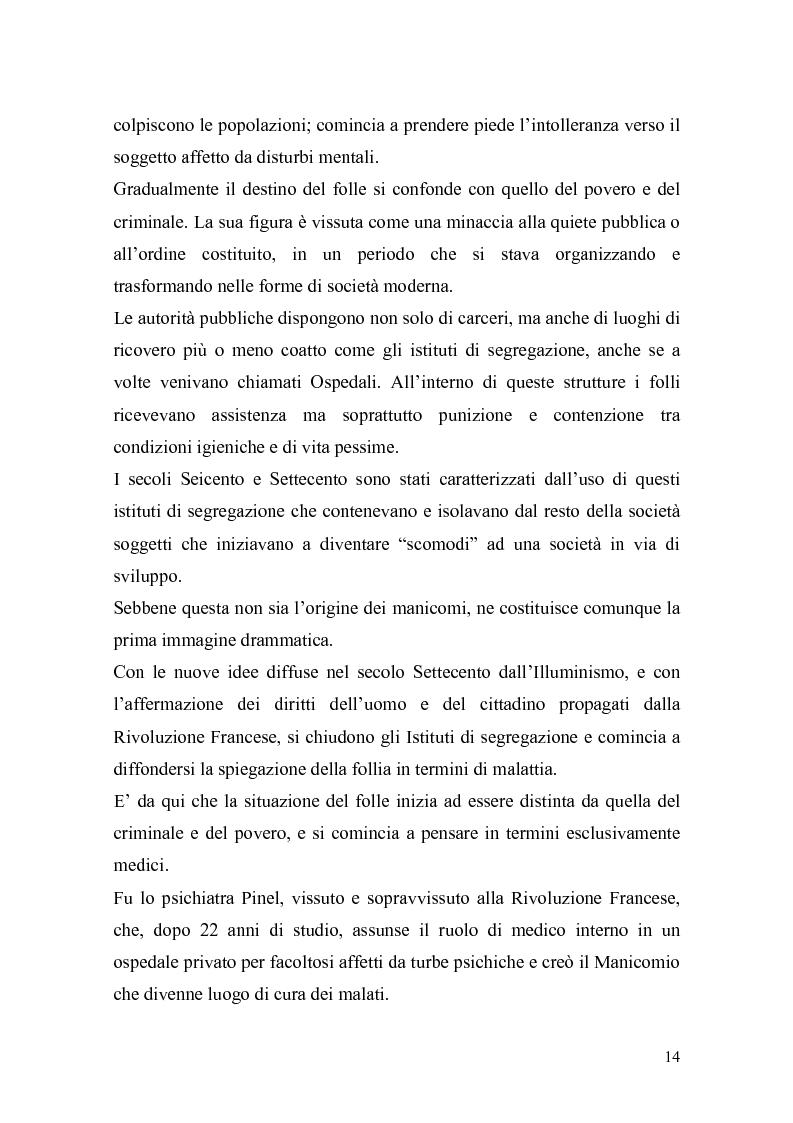Anteprima della tesi: Il trattamento della malattia mentale. Il CSM di Rimini, Pagina 14
