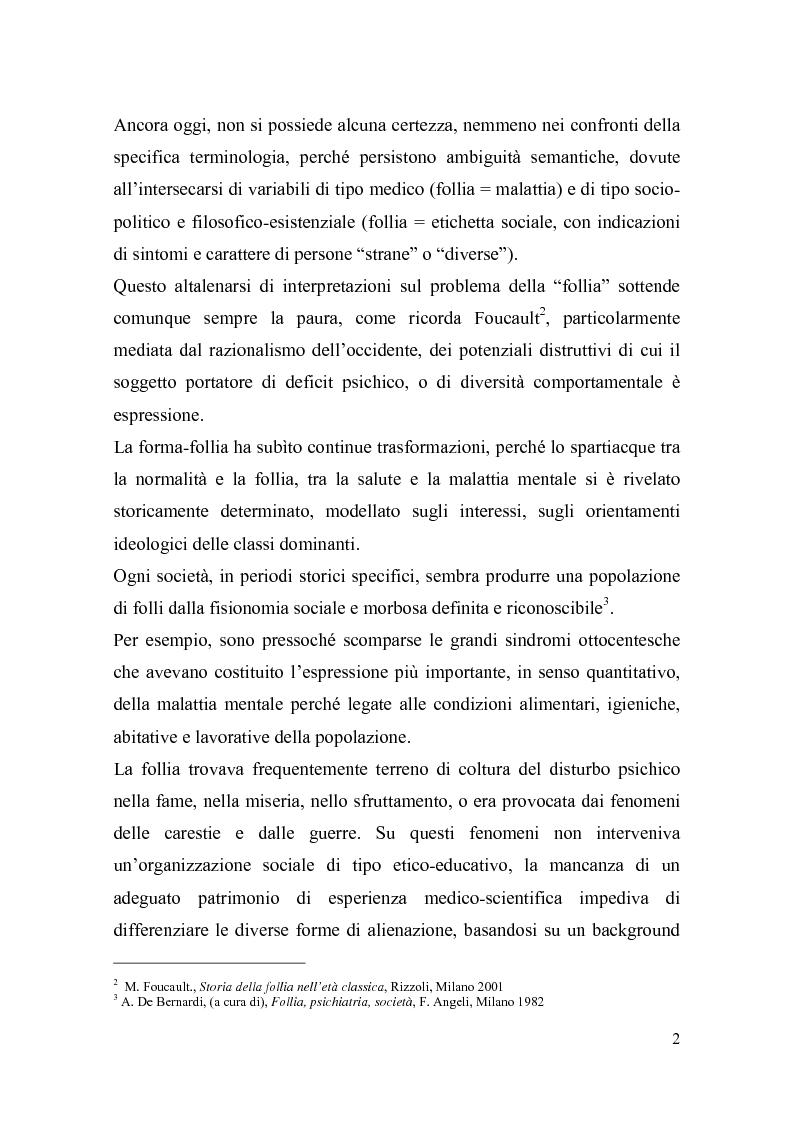 Anteprima della tesi: Il trattamento della malattia mentale. Il CSM di Rimini, Pagina 2