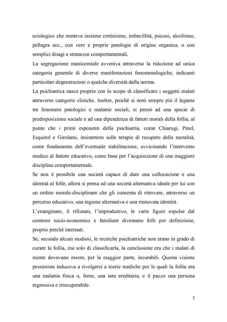Anteprima della tesi: Il trattamento della malattia mentale. Il CSM di Rimini, Pagina 3