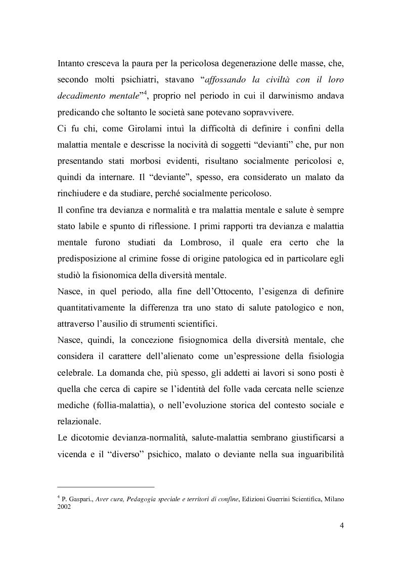 Anteprima della tesi: Il trattamento della malattia mentale. Il CSM di Rimini, Pagina 4