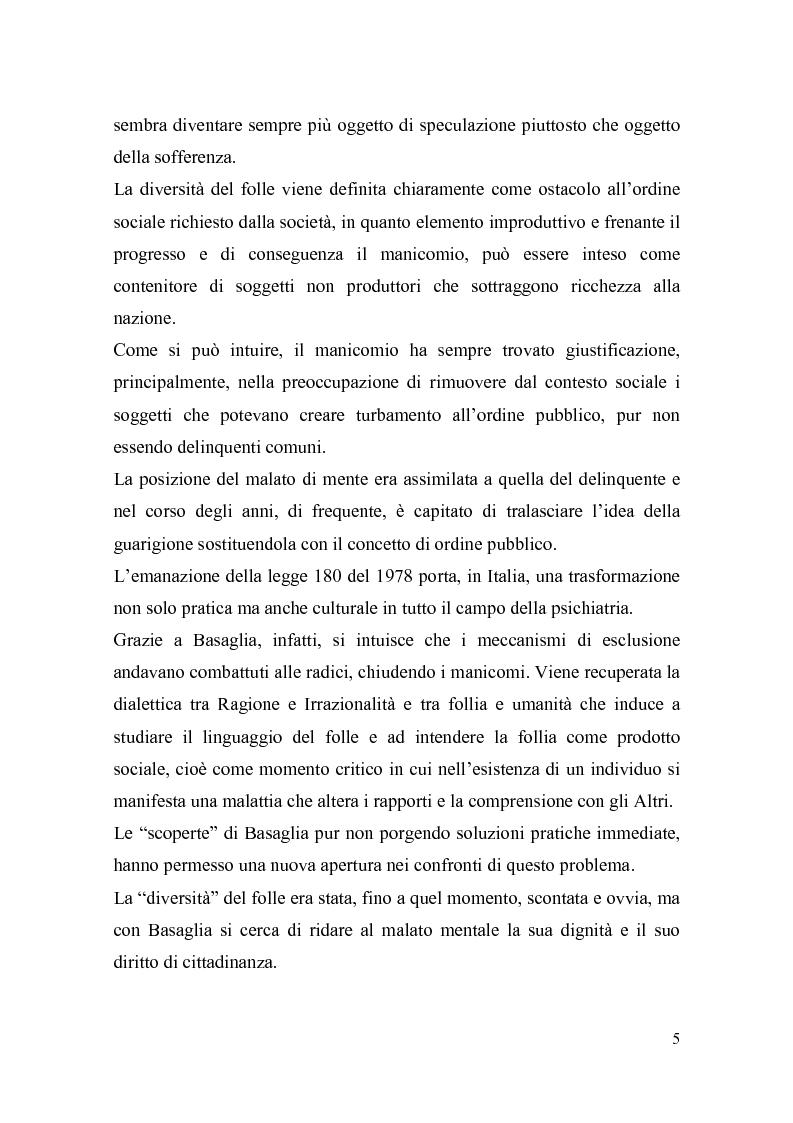 Anteprima della tesi: Il trattamento della malattia mentale. Il CSM di Rimini, Pagina 5