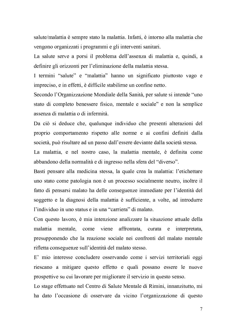 Anteprima della tesi: Il trattamento della malattia mentale. Il CSM di Rimini, Pagina 7