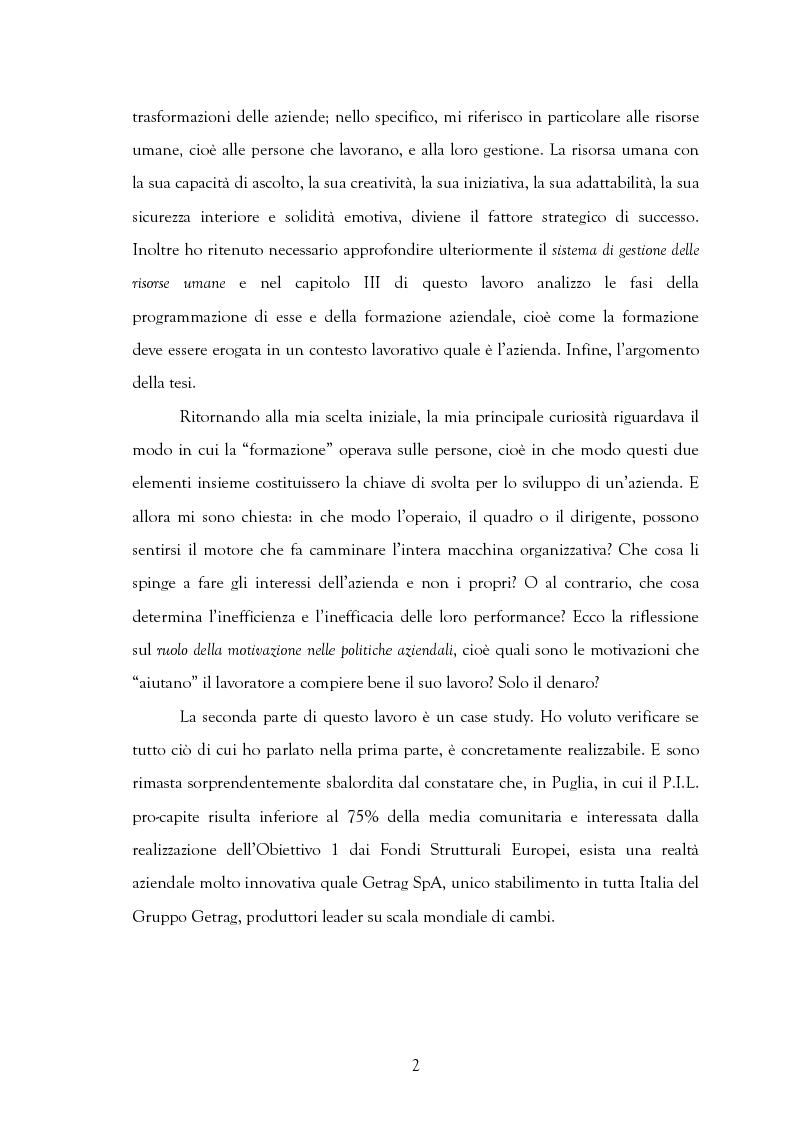 Anteprima della tesi: La motivazione nelle politiche aziendali. Il caso: Getrag SpA, Pagina 2