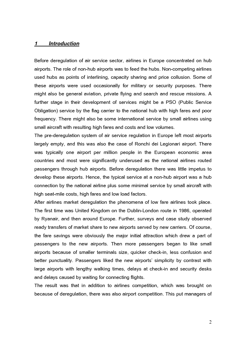 Anteprima della tesi: The role of secondary airports after air service market deregulation and the phenomena of low-cost airlines. Case study: Ronchi dei Legionari, Pagina 1