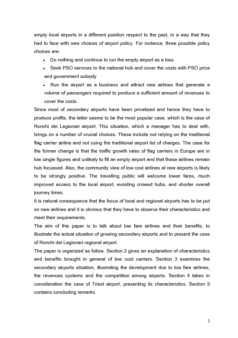Anteprima della tesi: The role of secondary airports after air service market deregulation and the phenomena of low-cost airlines. Case study: Ronchi dei Legionari, Pagina 2